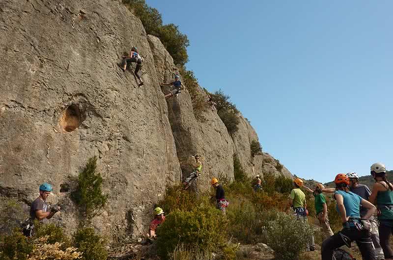 bautismo de escalada en roca en calcena